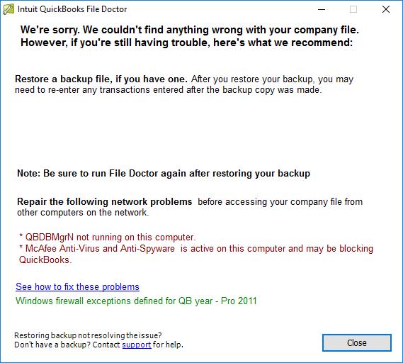 QuickBooks 2011 crashes at startup