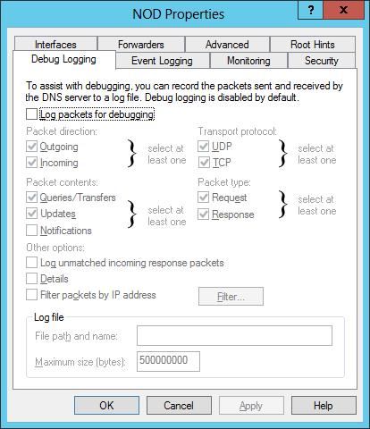 Enabling DNS Logging for Windows Server 2012