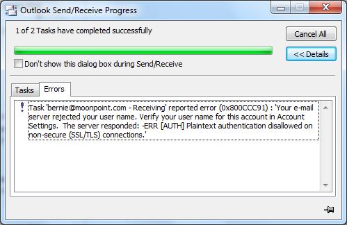 Outlook 2010 0x800CCC91 error - plaintext authentication disallowed