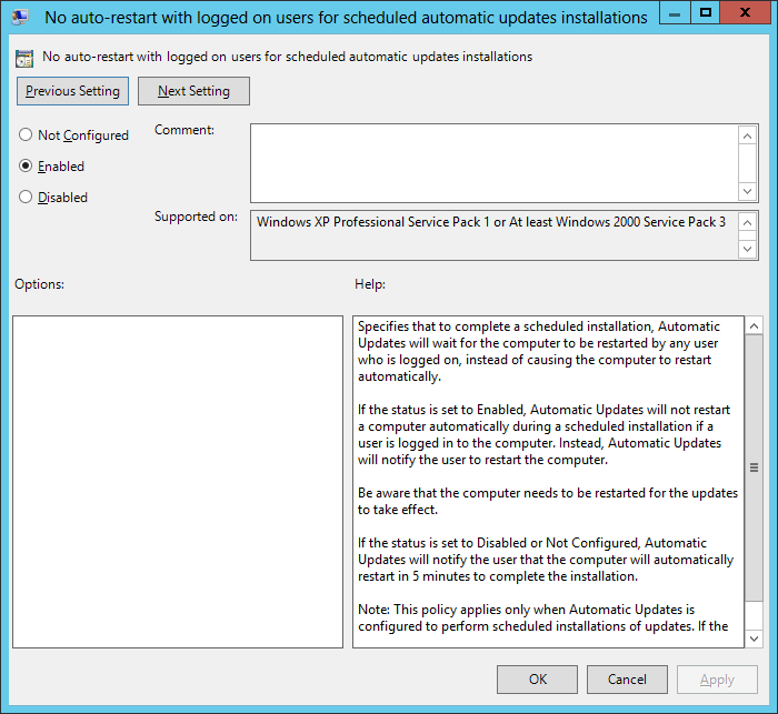 No auto-restart configured