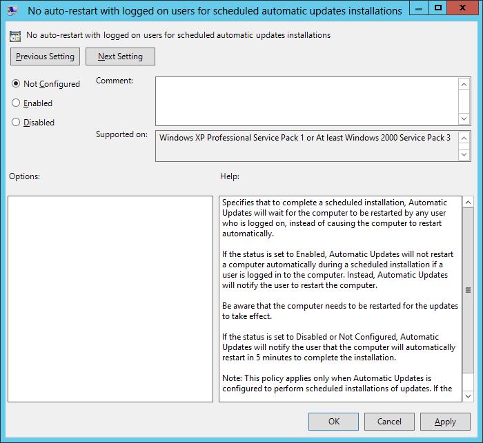 Windows update prevent automatic reboot gpo windows update restart