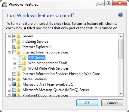 Adding the Microsoft Windows FTP Service to a Windows 7 system